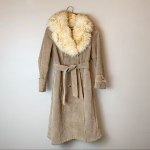 70s, fully lined, suede and real fur coat.